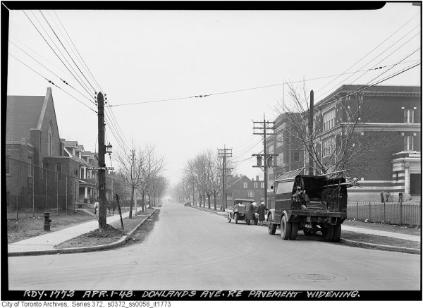 Donlands Avenue before street widening in April 1948