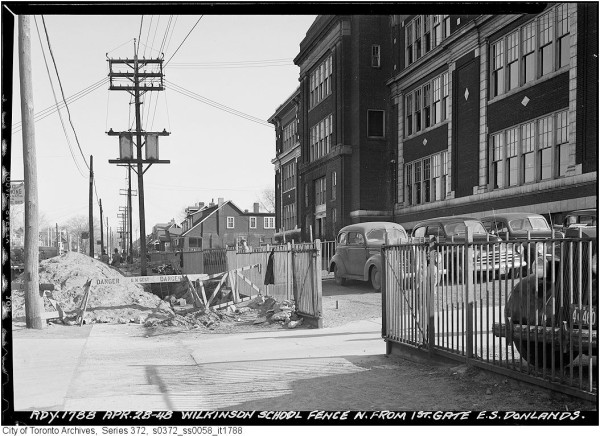 Wilkinson School during Donlands Avenue street widening in April 1948.