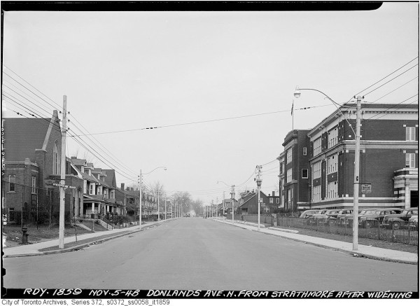 Donlands Avenue after street widening in November 1948